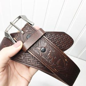 Vintage | Tooled Deer Leather Belt